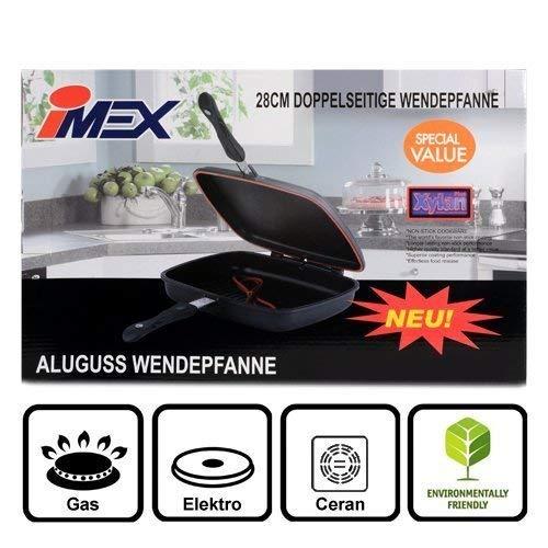 IMEX Doppelpfanne aus Aluminiumguss mit Xylan Plus Beschichtung | Alupfanne zum Grillen und Braten, die Wendepfanne ø 28 cm rechteckig | Cift Tava Çift Tarafli Kokusuz Izgara