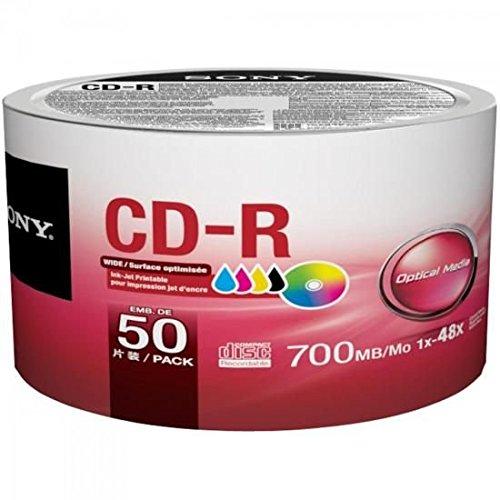 Sony 50 Pack Blank CD-R CDR White Inkjet Hub Printable 48 X 700MB 80min Record Media Disc
