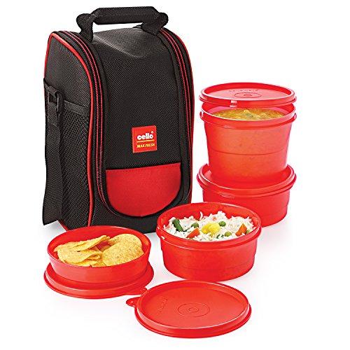 Cello Max Fresh Super Polypropylene Lunch Box Set, 4-Pieces, Red