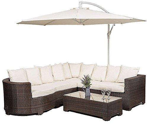 Modern Furniture Direct Marbella - Set di mobili da giardino, in rattan, con divano angolare a 8 posti, tavolino da caffè con ripiano in vetro, cuscini per seduta, ombrellone parasole e telo antipolvere impermeabile, per giardino, veranda, giardino d'inverno e sale d'aspetto, dimensioni: 259 cm x 218 cm x 66 cm, è richiesto un assemblaggio minimo