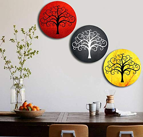 Studio Shubham Wooden Wall Designer Tree Plates for Hanging (7.5 Inch, Set of 3)