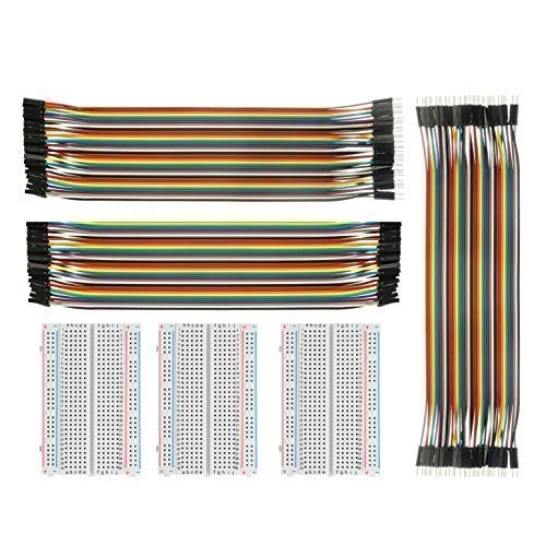 Jumper Wire con Breadboard - ALLDE BJ-018 3pcs 400 Pin Breadboard E 3PCs 40 X 20 Female-Female, Male Male, Female Male Cavo Di Ponti per Arduino Raspberry Pi   Breadboard Features:  400 Pin Breadboard: Size: 94 x 64 x 8 mm Material: ABS Color...