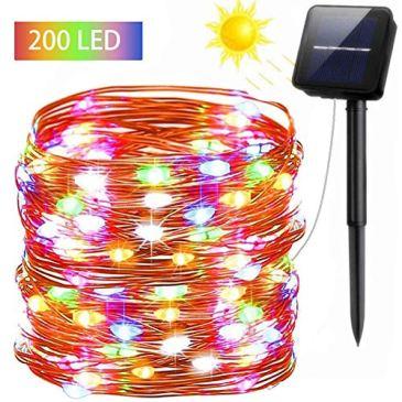 FSTgo solaire guirlandes extérieures imperméable à l'eau 200 LED cuivre alimenté solaire lumière pour arbre de noël jardin décoration de fête de mariage 8 Mode 72 pieds