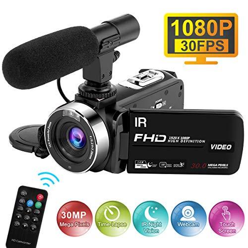 Videocamera con Microfono 1080P 30FPS 30MP Videocamere Full HD Time-Lapse per la Visione Notturna Fotocamera Digitale con Zoom Digitale 16X