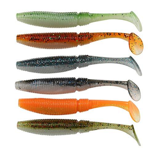 Heaviesk Filetto T Coda Bicolore Verme Morbido Jerkbait 10 cm Esca Artificiale 8g SL00164 Swimbaits 6 Pz/Lotto Esche da Pesca Accessori Pesce