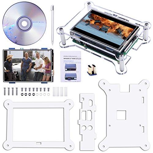 Touch Screen TFT, Kuman Display Monitor 3.5 Pollici TFT LCD con Custodia Protettiva Supporta Tutti i Sistemi Raspberry PI, Riproduzione Video Film, Giochi Arcade, Ingresso HDMI Audio SC6AC
