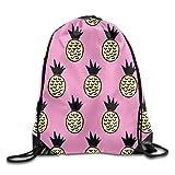 Dutars Bolsas de Viaje con Cordón para Gimnasio, Diseño de Piñas, Color Rosa Amarillo, para Adolescentes y Niños