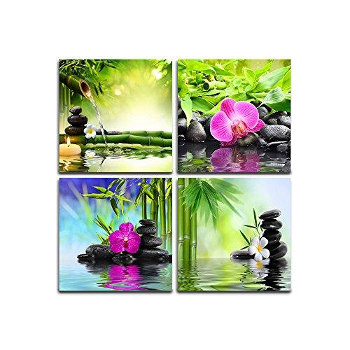 Zen stampe su tela decorazione della parete 4 pannelli opere d'arte moderna immagini incorniciate -...