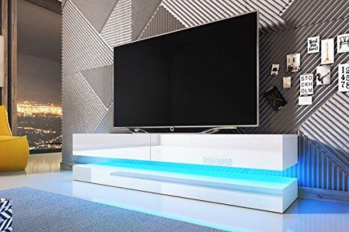 Aviator - Mobile TV a sospensione, con LED blu, bianco opaco/bianco lucido, 140 x 34 x 45 cm