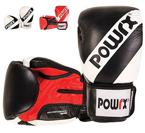 POWRX - Guantoni da boxe in VERA PELLE - Perfetti anche per la Muay Thai, Kickboxing, Sparring e...