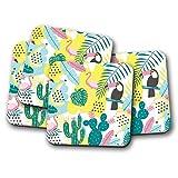 Juego De 4 Posavasos Originales Tropicales Divertidos Funky Cactus Toucan Flamingo