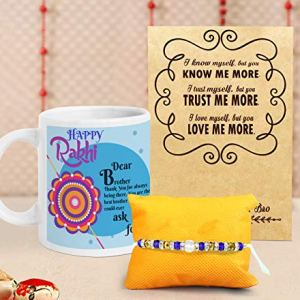 TIED RIBBONS Designer Rakhi with Gift Set for Brother Bhai on Rakshabandhan (Printed Coffee Mug with Rakhi, Roli Chawal and Rakhi Special Wishes Card) 2