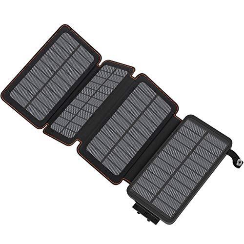 ADDTOP Caricabatterie Solare 25000mAh, Batteria Esterna Portatile con 2 Porte USB Waterproof Power...