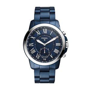 FOSSIL Q Grant – Smartwatch hybride homme - Montre connectée au look classique - Cadran et bracelet en acier inoxydable bleu marine - Boîte et pile incluses