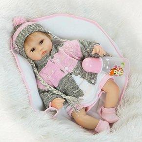 Nicery Reborn Baby Doll Renacer Bebé la Muñeca Vinilo Simulación Silicona Suave 18 Pulgadas 45cm Boca Natural Niña Niño Juguete vívido Girl RD45C037O