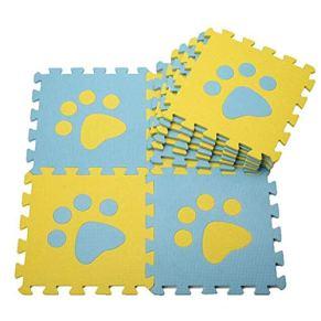 Valink 10Pcs 30Cm Baby Play Mat, Paws Pattern Soft Foam Puzzle Mat Blue yellow