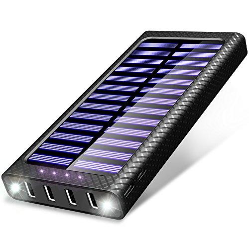 Caricabatterie Portatile 24000mAh Solare Powerbank , 5.8A 4 Porte USB TSSIBE Batteria Esterna con 3...