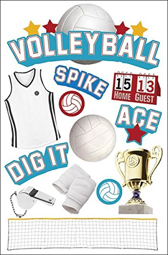 Paper House Productions STDM-0064E 3D Cardstock Stickers, Volleyball (3-Pack)