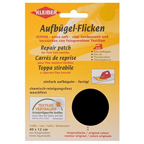 Kleiber Toppa per riparazioni termoadesiva in cotone 40 x 12 cm per tessuti a maglia fine, nero