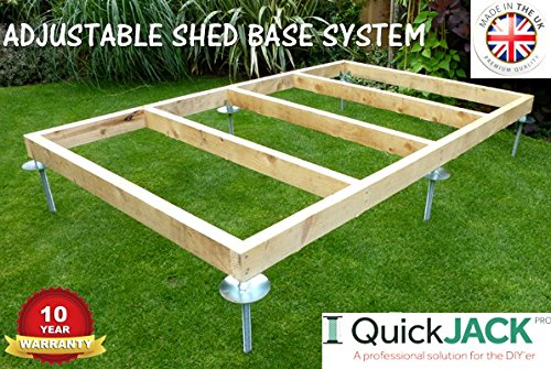 The Quick Jack Shed Base system is available in different kits, so you can pick the one that meets your requirements. The various options range from a 6 x 3ft shed base to a 12 x 10ft, with other sizes in between including 8 x 6ft, 8 x 8ft, and 10 x 8ft.