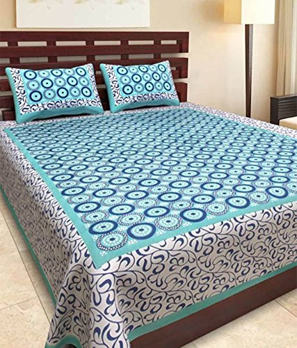 Bedsheet ( Bed Zone Cotton Rajasthani king Size Double Bedsheet with 2 Pillow cover)