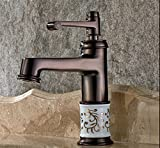5151BuyWorld - Grifo de lavabo de alta calidad, estilo vintage, color bronce y rojo
