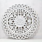 La Fabrica del Cuadro Mandala de Pared- Tamaño 80x80 cm, Modelo GR95. Forma Redonda (Blanco Pátina Plata)