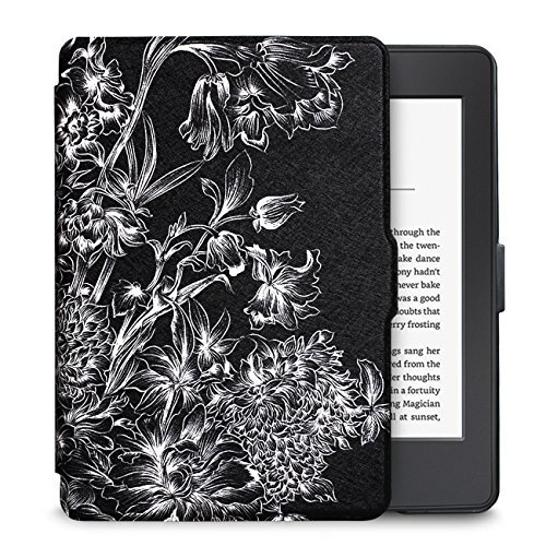 "Walnew the Thinnest and the Lightest Colorful Painting Leather Cover Case for Kindle Paperwhite(Fits All Versions: 2012, 2013, 2014 and 2015 All-new 300 PPI Versions)tablet with 6"" Display and Built-in Light (For Kindle Paperwhite) (Black Flower)"
