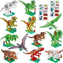 Faburo 21 Pcs Dinosaurio Set:12 pcs Dinosaurio Jurásico Dinosaurio de construcción de juguete y 9 pcs Dinosaurio Pegatinas