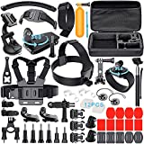 Leknes 52 in 1 Kit Accessori Bundle per GoPro Hero 5 4 3+ 3 2 1 SJCAM SJ4000 SJ5000 SJ6000 Lightdow/Xiaomi Yi/WiMiUS/DBPOWER /Action Camera APEMAN/Action Camera Campark, Grande Custodia antiurto