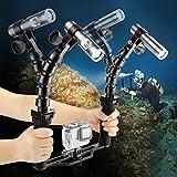 SHOOT Unterwasser 100M Fackel Flexarm Zwei-Handle Tray Arm 900LM Tauchen Flash Lichter für GoPro SJcam Xiaomi Yi Action Kamera mit Flex Arms und Base Tray
