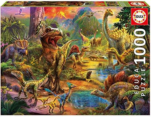 Educa Borras-1000 Land of Dinosaurs Puzzle, Colore Vario, 17655