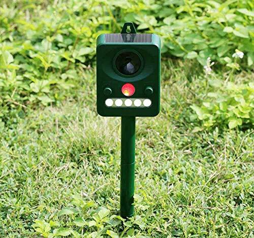 Winsale Solar Tiervertreiber Ultraschall Vogelabwehr wasserdichte Katzenschreck Hundeschreck Marderabwehr Tierabwehr PIR Sensor Frequenz Einstellbar für Outdoor Farm Garten