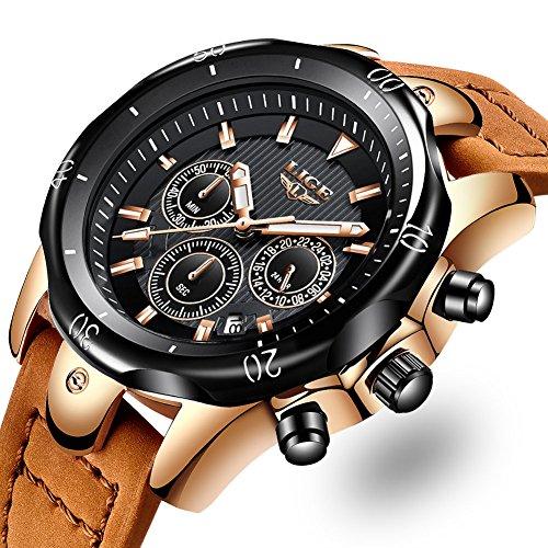 103a0af6d0a4 Relojes Hombre Reloj de pulsera de Cuero Reloj Elegante Analógico de ...