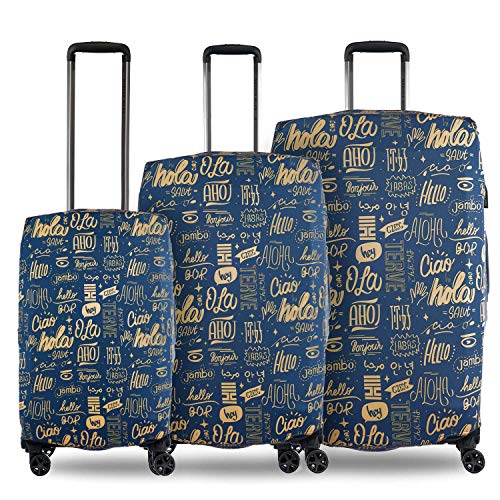 Nasher Miles Eco Friendly Polyester Set of 3 Protective Luggage Covers (Dark Blue)(55, 65 & 75 cm)
