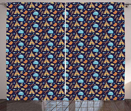 ABAKUHAUS Polo Nord Tenda, Eskimo Elementi Simbolici, Tende per Finestra Due Pannelli Set, 280 x 260 cm, Dark Blue Grey E Multicolore