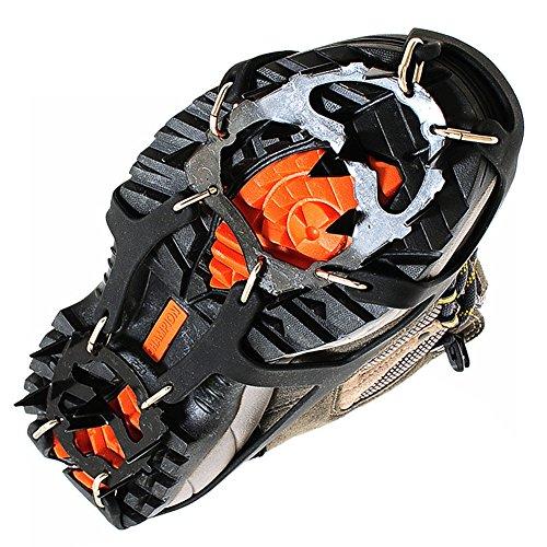 Kottle Crampones universales 18 dientes acero hielo Grips antideslizante nieve y hielo tracción tacos zapato cadenas seguro protegen zapatos 1