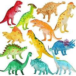 Juguete Grande de Dinosaurio de 7 Pulgadas(12 paquetes), Material Seguro Diversos Dinosaurios Realistas, Dinosaurio de Vinilo Juguetes para Aficionados de Fiestas para la Educación de Bebé Niños