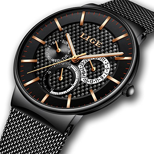 Herren Uhren,LIGE Edelstahl Wasserdicht Sport Analog Quarzuhr Datum Kalender Business Casual Luxus Kleid Armbanduhr Uhr mit Milanese Mesh Band Gold Schwarz
