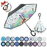 ZOMAKE Parapluie Inversé,Parapluie Canne,Double Couche Coupe-Vent, Mains Libres poignée en Forme C, Idéal pour Voiture et Voyage (Renard)