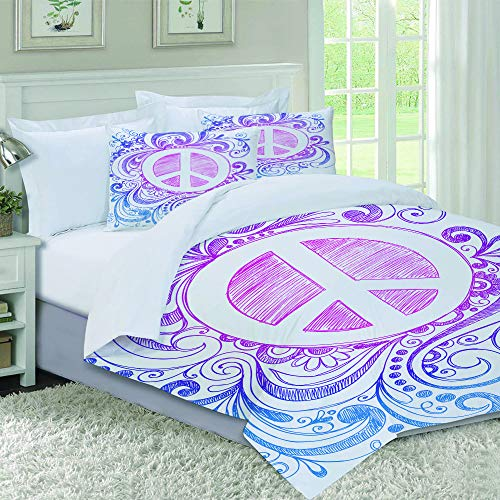 not Piumone-la Biancheria da Letto,Classic Hand Drawn Style Peace Sign And Swirls Freedom Change Hope Roll Icon,Microfibre, Piumino 1 Trapunta 240×260CM e 2 federe 50×80CM