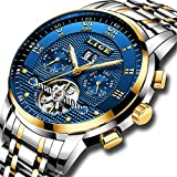 Mens Watches Fashion Automatic Stainless Steel Waterproof Mechanical Watch Men Luxury Brand LIGE Casual Business Dress Gents Wristwatch Wth Gold Blue