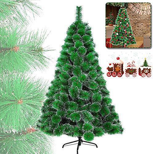 HENGMEI 180cm Albero di Natale Artificiale PVC Ago di Pino Verde con Nevoso Decorazione di Natale incl. Supporto in Metallo