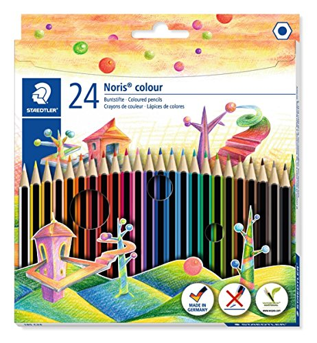 STAEDTLER matite colorate Noris Colour, confezione da 24 colori con tonalità differenti e mine...