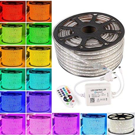 Greensun-Lighting-Flexible-5050-RGB-LED-Strip-avec-Bluetooth-contrleur-IR-24-touches-Guirlande-lumineuse-Tuyau-Barre-IP65-60LEDsm-tanche-Nol-Intrieur-Extrieur-rayures-lumire