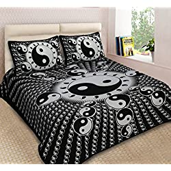 Lakshita Enterprises 100% Cotton 120 TC Double Bedsheet Ying Yang Design with 2 Pillow Covers- King Size, Black (270 cm X 225 cm)