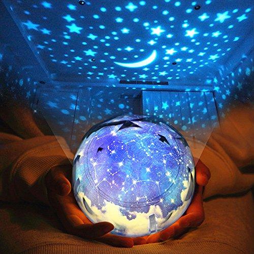 Sudatek, proiettore di stelle con luci LED, luce notturna, girevole a 360°, con cambio colore,...