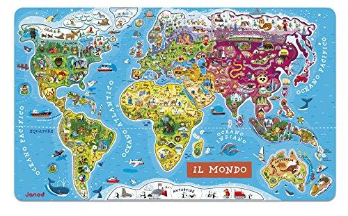 Janod - Puzzle di Legno il Mondo Magnetico 92 Pezzi, Versione Italiana, J05513