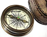 BRASS COMPASS W/LEATHER CASE BY NAUTICALMART