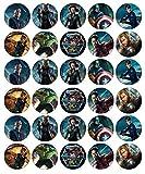 30 topper in ostia commestibile, tema: personaggi Marvel degli Avengers, per cupcake e torte di compleanno
